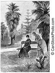 O a bane or walking with Jane, vintage engraving. - O a bane...