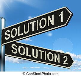o, actuación, el solucionar, solución, opción, 1, 2, ...