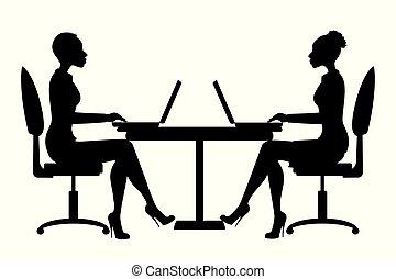 o, affari donna, americano, ufficio, africano, lavorante, silhouette