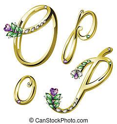 o, alfabet, brieven, juwelen, goud