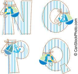 o, alphabet., labor de retazos, q, carta n, p