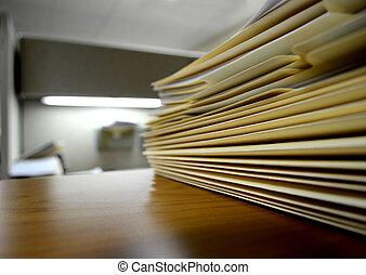 o, archivo, estante, escritorio, carpetas
