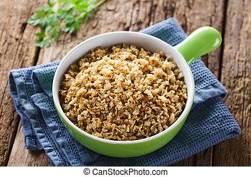 o, arroz, frito, coliflor, asado