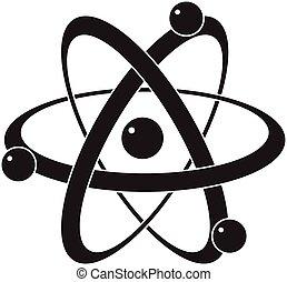 o, atomo, simbolo, scienza, astratto, icona, vettore
