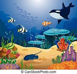 o, ballena, mar, asesino, stingray, océano, pez