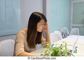 o, biuro, myślenie, projekt, nowy, dama