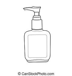 o, botella, contorno, loción, crema, bomba