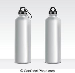 o, bottiglia, due, acqua, set, mockups, metallo, alluminio, contenitori, bevanda, senza, clip, grigio, legatura, realistico