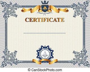 o, buono, sagoma, certificato