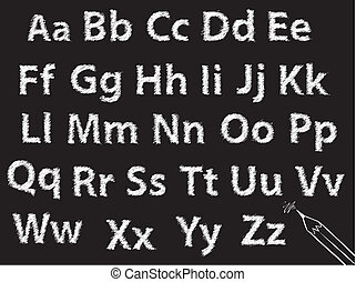 o, carbonella, alfabeto, gesso, set, lettera, matita