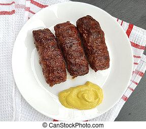 o, carne, ), rumano, (mititei, tradicional, alimento, mici, rollos, mostaza
