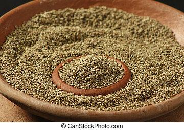 o, carom, ajwine, semillas