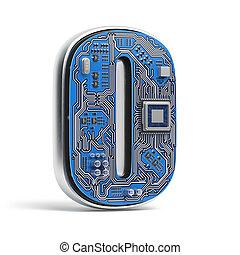 o., circuito, alfabeto, isolato, ciao-tecnologia, white., lettera, digitale, style., asse