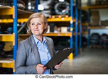 o, clipboard., almacén, director, 3º edad, supervisor, mujer