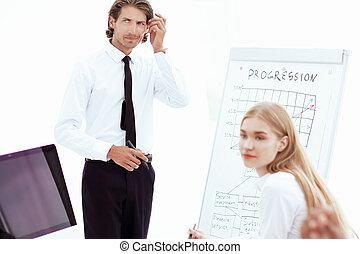 o, closeup.businessman, handlowy, myślenie, plan, nowy