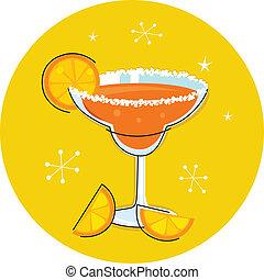 o, cocktail, retro, frutta, isolato, margarita, agrume, ...
