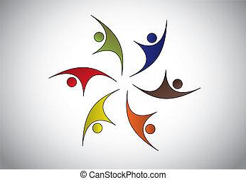 o, colorare, differente, felice, saltare, forza, persone, ...