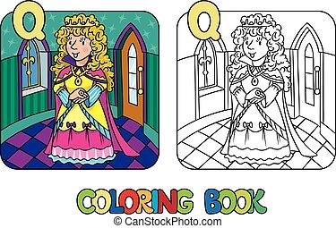 o, colorido, hada, reina, princesa, belleza, libro