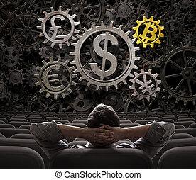 o, comerciante, mirar, inversionista, monedas, bitcoin, ilustración, engranajes, incluso, 3d