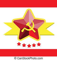 o, comunista, ruso, banderas, illustratio, hoz, martillo, ...