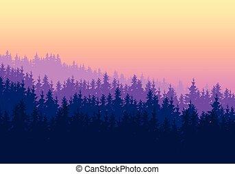 o, conífero, ocaso, capas, varios, espacio, amanecer, texto, cielo, su, púrpura, -, debajo, amarillo, bosque