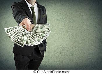 o, contanti, concetto, prestito, bancario