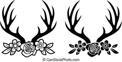 o, corna cervi, fiori, antlers
