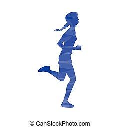 o, correndo, vettore, illustrazione, maratona, isolated., jogging, astratto, effetto, donna