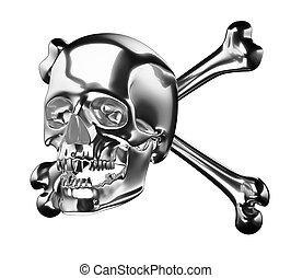o, cranio, isolato, croce, ossa, totenkopf, argento