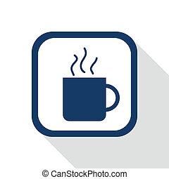 o, cuadrado, azul, tee, icono, taza, café