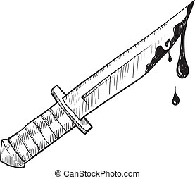 o, cuchillo, asesinato, bosquejo