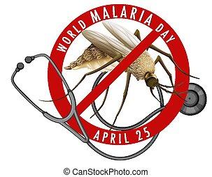 o, día, malaria, mundo, mosquito, bandera, logotipo, señal