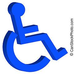 o, desventaja, símbolo, acceso del sillón de ruedas