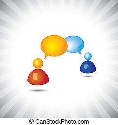 o, discusión, symbols(icons)., gente, reunión, teniendo, ...
