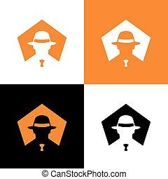 o, diseño, -, vector, incógnito, gángster, espía, sombrero,...