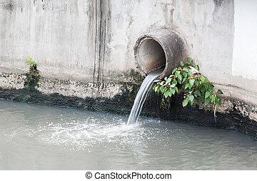 o, drenaje, ambiente, concreto, tubo desecho, pipe., contaminar