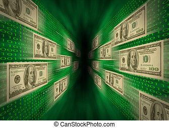 o dużej prędkości, $100, dwójkowy kodeks, zielony, przelotny, gotówka cieknięcie, ściany, e-commerce., possibly, wir, przez, dzioby, reprezentujący, albo