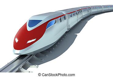o dużej prędkości, osobowy pociąg, na białym