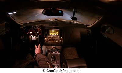 o dużej prędkości, salon, wóz, jazdy, noc, szosa, człowiek
