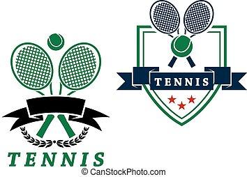 o, emblemas, heráldico, insignias, tenis