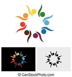 o, entusiasmado, juego, -, logotipo, excitado, icono, vector...