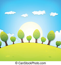 o, estate, paesaggio, cartone animato, primavera