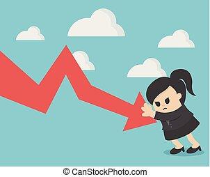 o, failure., handlowy, myślenie, kobieta interesu, młody, zmartwiony, wykres