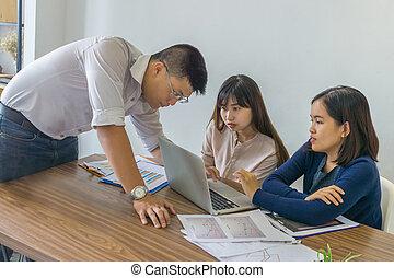 o, finansowy, biuro, handlowy zaludniają, asian, zameldować, dyskutować