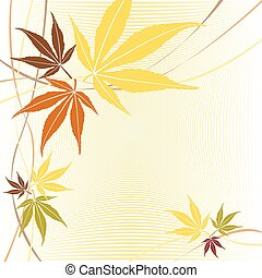o, foglie, acero, vector., cadere, autunno