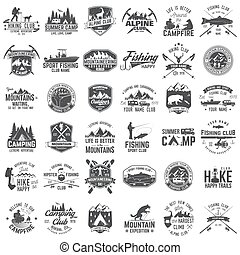 o, francobollo, tee., avventura, estremo, set, camicia, badges., concetto, stampa, logotipo