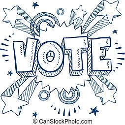 o, głosowanie, podniecony, rys