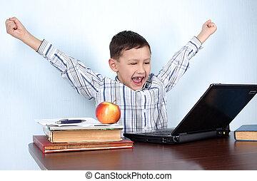 o, ganador, lección, niño del partido, computadora, ...
