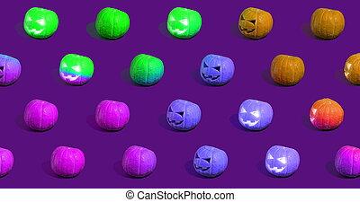 o, gato, halloween, o'lantern, calabazas