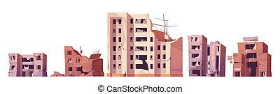o, guerra, destruido, ciudad de edificios, después, terremoto
